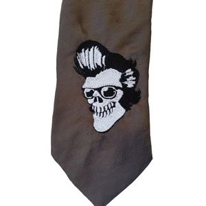 Upcycled Embroidered Rockabilly Skull Clip On Tie